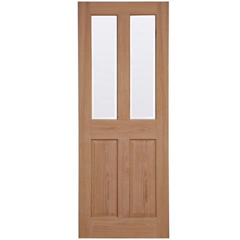 4 Panel Oak Veneer Glazed Internal Door, (H)1981mm (W)762mm
