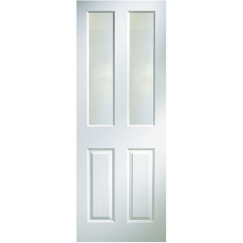 4 Panel Primed Glazed Internal Door, (H)1981mm (W)686mm