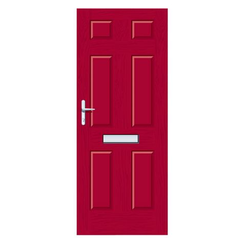 Downing Red GRP 6 Panel RH Front Door & Frame 2055 x 920 mm