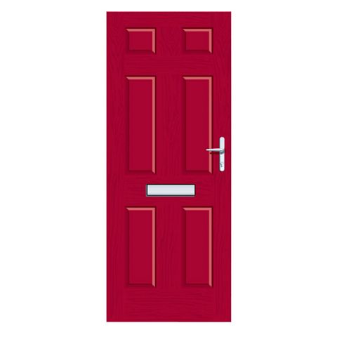 Downing Red GRP 6 Panel LH Front Door & Frame 2055 x 920 mm