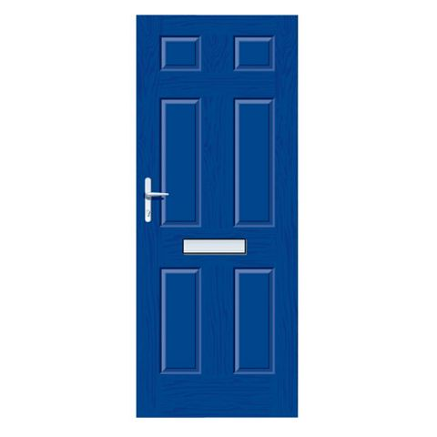 Downing Blue GRP 6 Panel RH Front Door & Frame 2055 x 920 mm