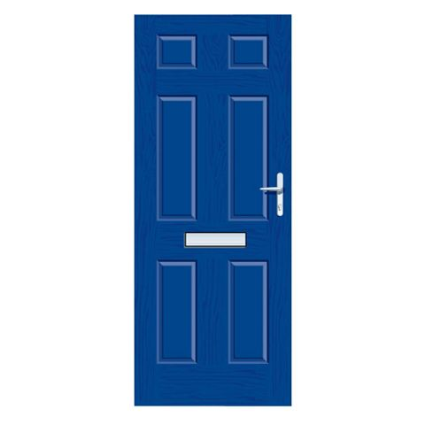 Downing Blue GRP 6 Panel LH Front Door & Frame 2055 x 920 mm