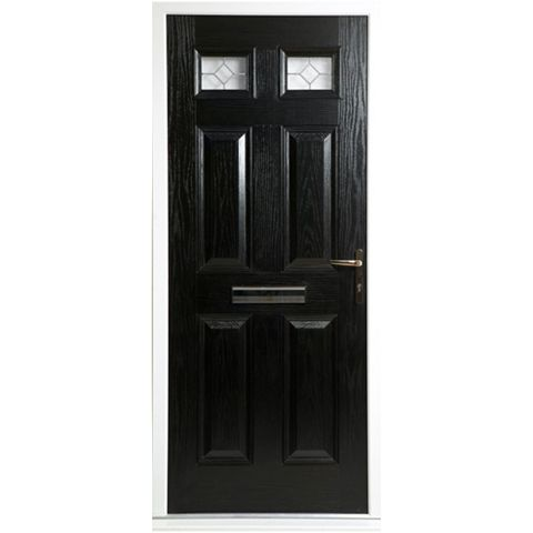 Westminster Black GRP 4 Panel Partially Glazed LH Front Door & Frame 2055 x 920 mm