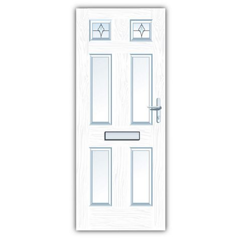 Westminster White GRP 4 Panel Partially Glazed LH Front Door & Frame 2055 x 920 mm