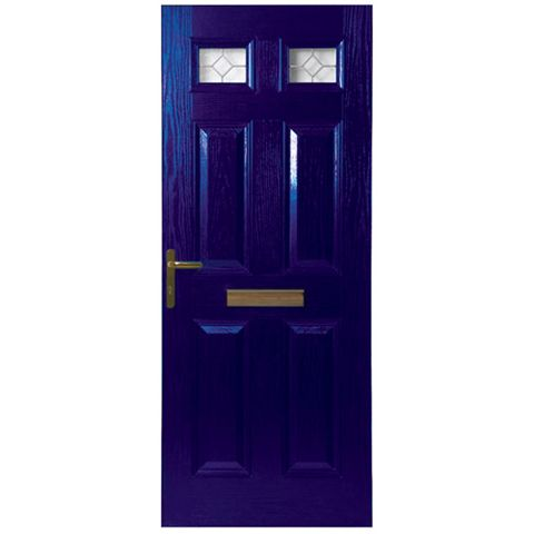Westminster Blue GRP 4 Panel Partially Glazed RH Front Door & Frame 2055 x 920 mm