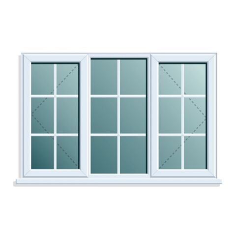PVCu Georgian Double Side Hung with Centre Fixed Lite Window 970 x 1760 mm