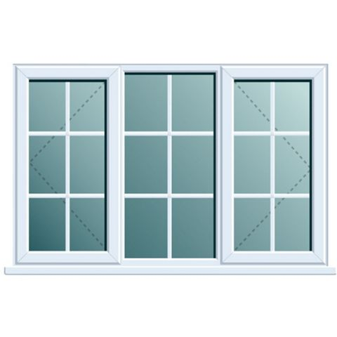 PVCu Georgian Double Side Hung with Centre Fixed Lite Window 1120 x 1760 mm