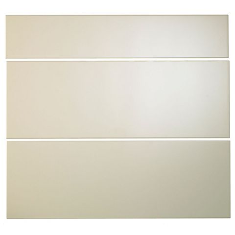 Cooke & Lewis Raffello High Gloss Cream Slab Pan Drawer Front (W)800mm, Set of 3