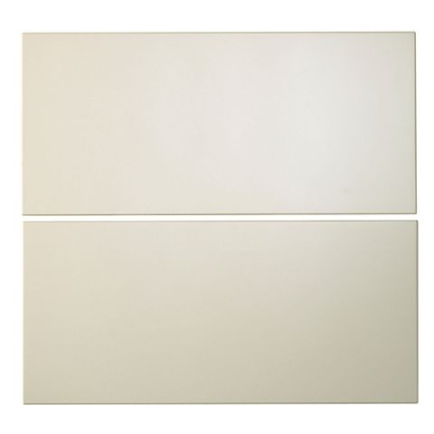 Cooke & Lewis Raffello High Gloss Cream Slab Tower Drawer Front (W)600mm, Set of 2
