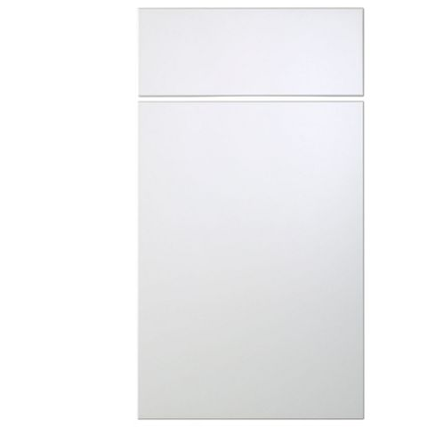 Cooke & Lewis Raffello High Gloss White Slab Drawer Line Door & Drawer Front (W)400mm, Set of 1 Door & 1 Drawer Pack