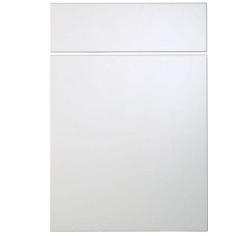 Cooke & Lewis Raffello High Gloss White Slab Drawer Line Door & Drawer Front (W)500mm, Set of 1 Door & 1 Drawer Pack
