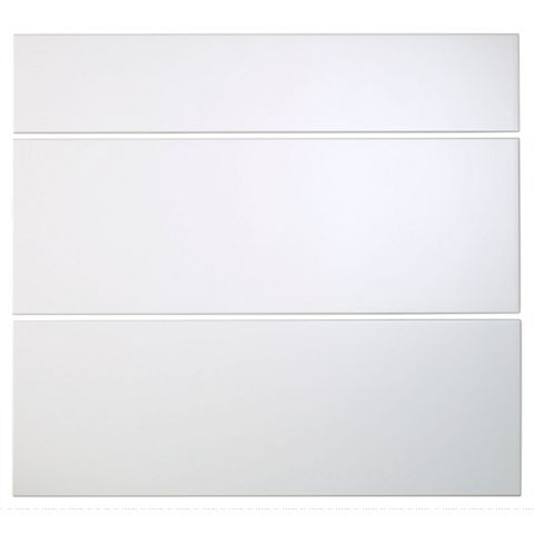 Cooke & Lewis Raffello High Gloss White Slab Pan Drawer Front (W)800mm, Set of 3