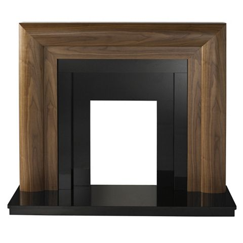 Beaumont Walnut Veneer Black Granite Fire Surround Set