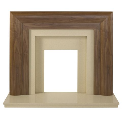 Beaumont Walnut Veneer Marfil Stone Micro Marble Fire Surround Set