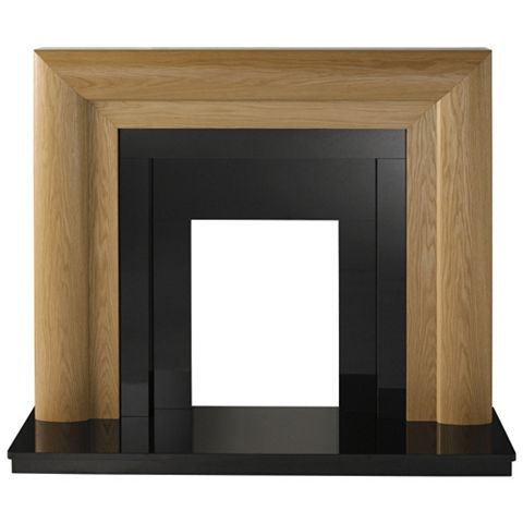 Beaumont Oak Veneer Black Fire Surround Set