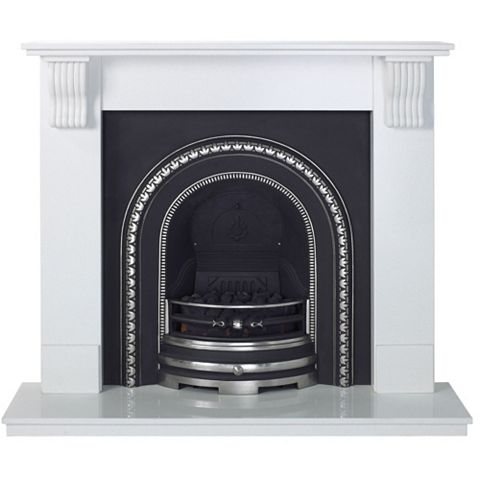 Victoria Sparkly White Micro Marble Fire Surround Set