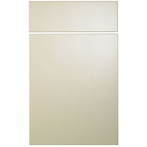 Cooke & Lewis Raffello High Gloss Cream Slab Drawerline Door & Drawer Front (W)450mm, Set of 2