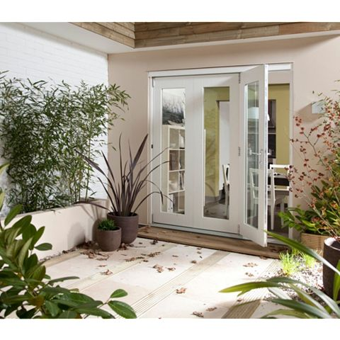 Pre-Finished White Glazed Folding Sliding Patio Doors, (H)2105mm (W)3005mm