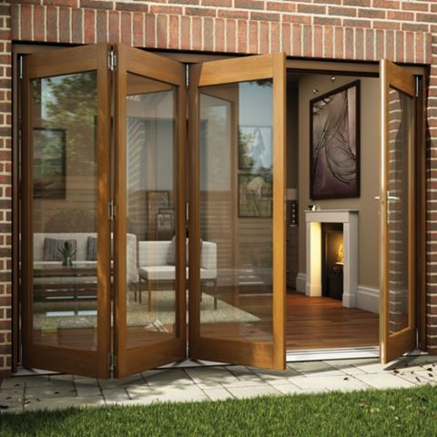 Oak Veneer Glazed Folding Sliding Patio Doors, (H)2105mm (W)3005mm