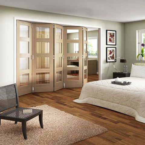 Shaker 4 Panel 4 Lite Oak Veneer Fully Glazed Internal Room Divider, (H)1981mm (W)3050mm