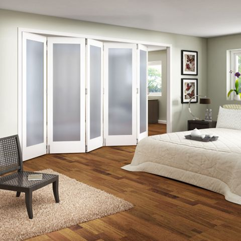 Shaker 1 Panel 1 Lite White Primed Fully Glazed Internal Room Divider, (H)1981mm (W)3050mm
