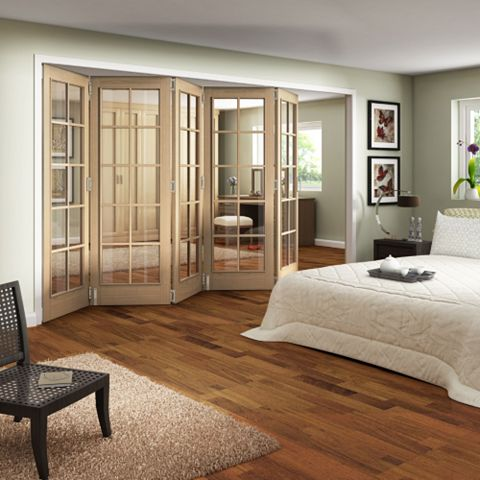Earleigh 10 Lite Oak Veneer Fully Glazed Internal Room Divider, (H)1981mm (W)2440mm