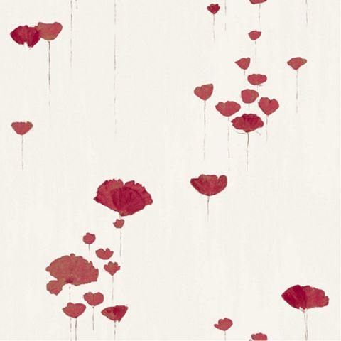 Poppy Cream & Red Floral Wallpaper