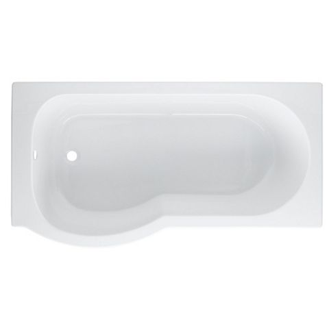 Cooke & Lewis Adelphi LH Acrylic Curved Shower Bath (L)1500mm (W)800mm