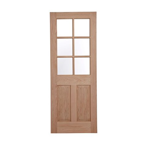 6 Panel Oak Veneer Glazed Internal Door, (H)1981mm (W)762mm