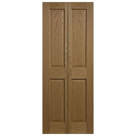 4 Panel Oak Veneer Internal Bi-Fold Door, (H)1981mm (W)762mm