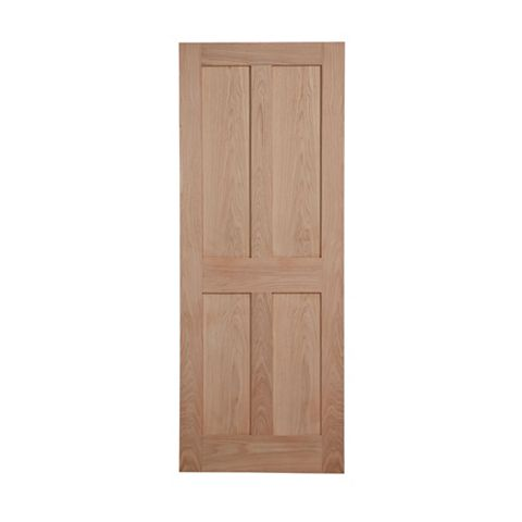 4 Panel Flush Oak Veneer Internal Door, (H)1981mm (W)762mm