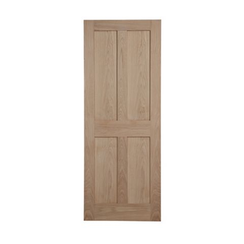 4 Panel Flush Oak Veneer Internal Unglazed Door, (H)1981mm (W)686mm