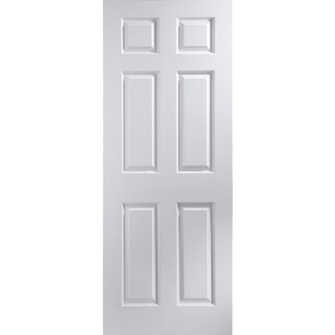 6 Panel Primed Woodgrain Internal Fire Door, (H)1981mm (W)762mm