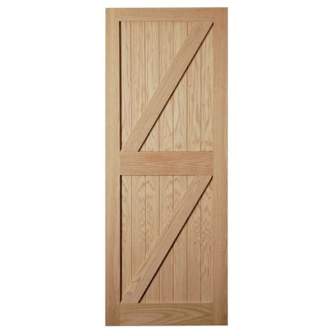 Framed, Ledged & Braced Oak Veneer External Door, (H)1981mm (W)838mm