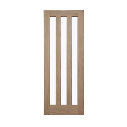 Vertical 3 Panel Oak Veneer Internal Door, (H)1981mm (W)838mm