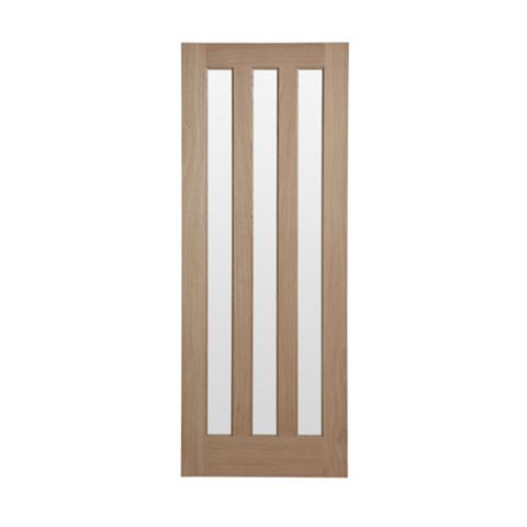 Vertical 3 Panel Oak Veneer Internal Door, (H)1981mm (W)686mm