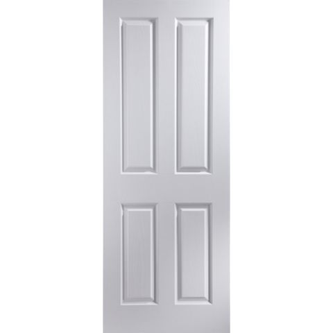 4 Panel Primed Woodgrain Internal Unglazed Door, (H)2040mm (W)626mm