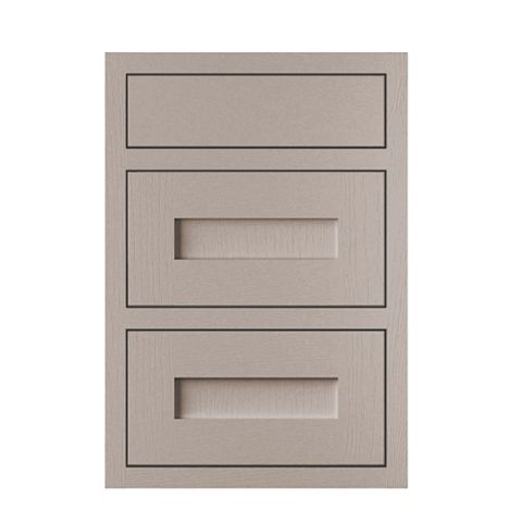 Cooke & Lewis Carisbrooke Taupe Framed Drawer Front (W)500mm, Set of 3