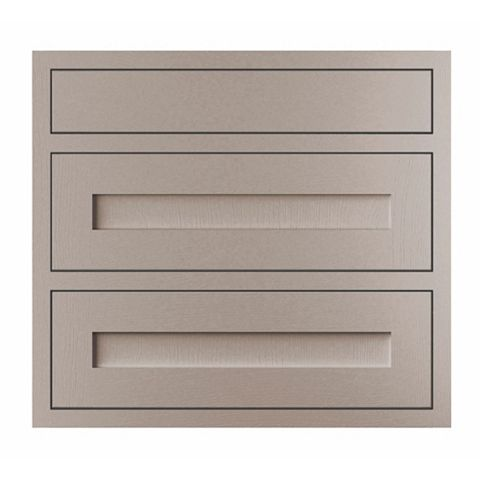 Cooke & Lewis Carisbrooke Taupe Framed Pan Drawer Front (W)800mm, Set of 3