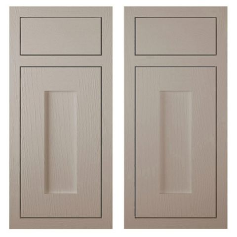 Cooke & Lewis Carisbrooke Taupe Framed Corner Base Drawerline Door (W)925mm, Set of 2
