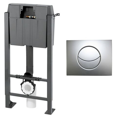 Cooke & Lewis Grey Wall Mounted Toilet Frame & Concealed Cistern
