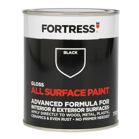 Fortress Interior & Exterior Black Gloss Multi-Purpose Paint 750ml