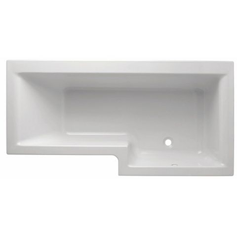 Cooke & Lewis Adelphi RH Supercast Acrylic L Shaped Shower Bath (L)1675mm (W)850mm