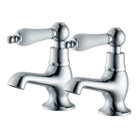 Cooke & Lewis Timeless Chrome Hot & Cold Basin Taps, Pack of 2