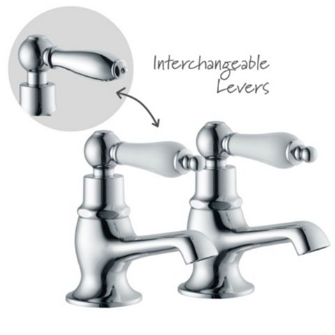 Cooke & Lewis Timeless Chrome Hot & Cold Bath Pillar Tap, Pack of 2