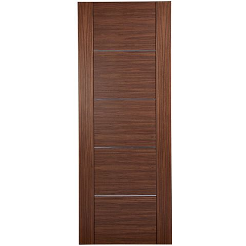 Flush Walnut Veneer Internal Door, (H)1981mm (W)838mm