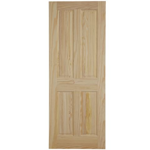 4 Panel Clear Pine Internal Door, (H)1981mm (W)762mm