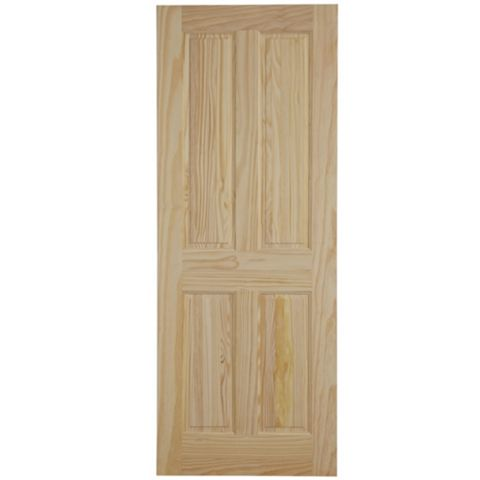 4 Panel Clear Pine Internal Door, (H)1981mm (W)686mm