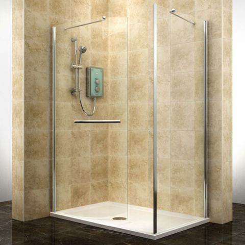 Cooke & Lewis Deluvio Rectangular LH Shower Enclosure, Tray & Waste Pack with Walk-In Entry (W)1400mm (D)900mm
