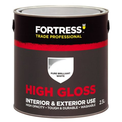 Fortress Trade Interior & Exterior Pure Brilliant White Gloss Paint 2.5L